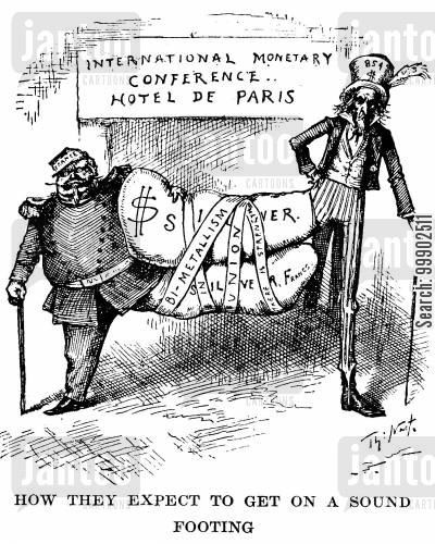 dual-standard cartoon humor: International Monetary Conference in Paris- Silver Currency an Unsound Footing