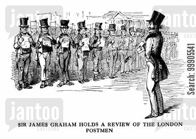 post service cartoon humor: Sir James Graham's Review of London Postmen