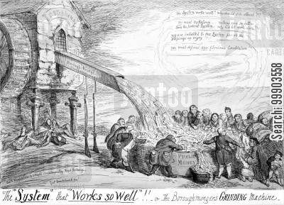 sinecure cartoon humor: 1832 Reform Act: Satirical Defense of Rotten Boroughs
