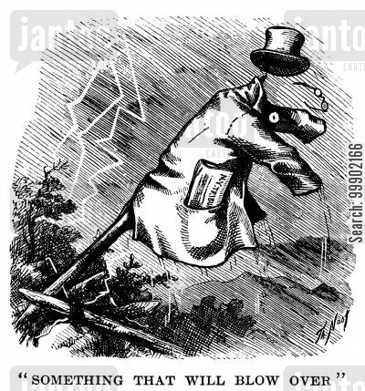 elections cartoon humor: Horace Greeley's Storm Battered Coat and Hat