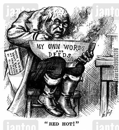 editorial cartoon humor: Horace Greeley's Past Editorials come Back to Haunt Him