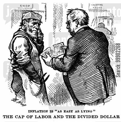 divided dollar cartoon humor: 'Inflation is as Easy as Lying' - Capital Divided the Dollar in Front of Labourer