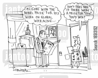 greenhouse gas cartoon humor: 'Al Gore won the Nobel Prize for his work on global warming...'