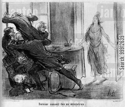 1848 revolution cartoon humor: The Last Cabinet Meeting of the Ex-Ministers