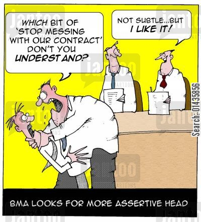 british medical association cartoon humor: BMA looks for more assertive head