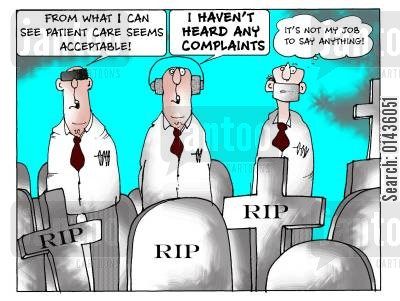 patient care cartoon humor: 'From what I can see patient care seems acceptable.'
