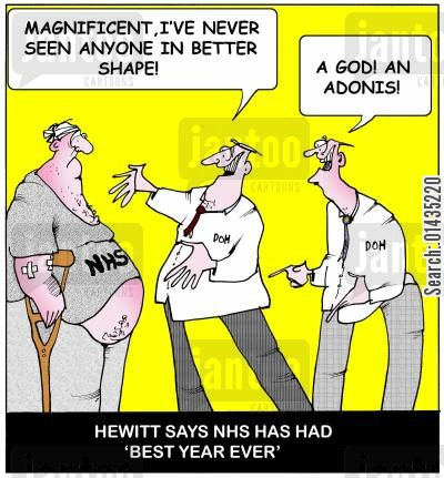 health secretary cartoon humor: Hewitt says NHS has had best year ever.