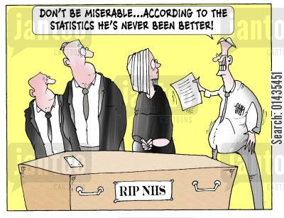 death blows cartoon humor: 'Don't be miserable...according to the statistics he's never been better.'