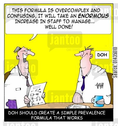 overcomplex cartoon humor: DOH should create a simple prevalence formula that works.