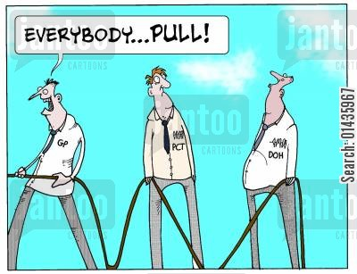 collaborations cartoon humor: Everyone in Health Service working together.