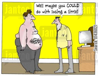 resources cartoon humor: 'Maybe you could do with losing a little!'