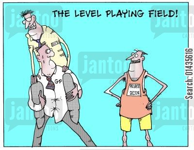 level playing field cartoon humor: The level playing field