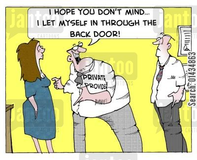 private medicine cartoon humor: 'I hope you don't mind...I let myself in through the Back Door!'