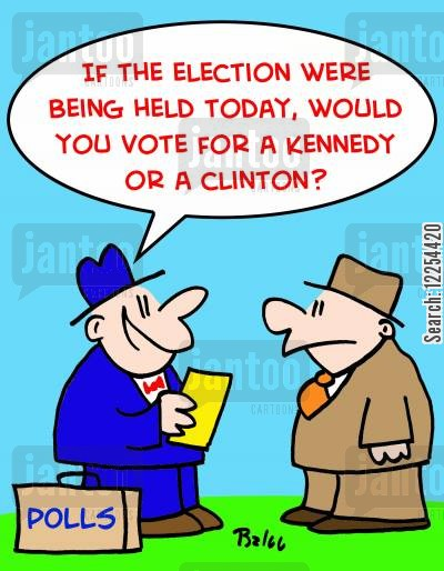kennedy cartoon humor: 'If the election were being held today, would you vote for a Kennedy or a Clinton?'