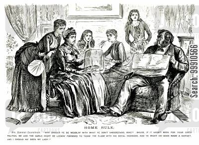 irish home rule cartoon humor: Family talking about home rule