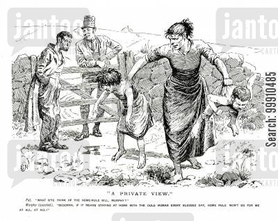 irish home rule cartoon humor: Irish farmers discussing home rule