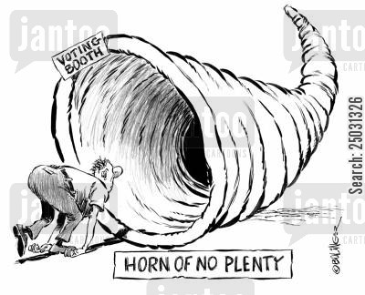 campaign promises cartoon humor: Horn of No Plenty.