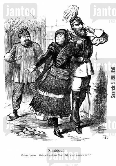 prussians cartoon humor: Spanish and Prussian Courts snub France