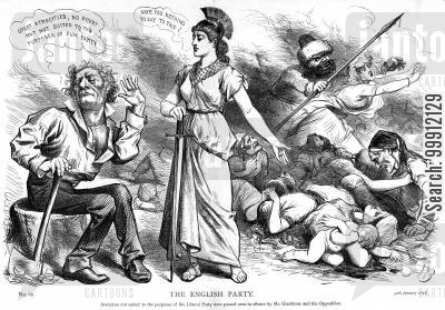 william gladstone cartoon humor: Gladstone ignoring Russian atrocities not suited to his party's political purposes