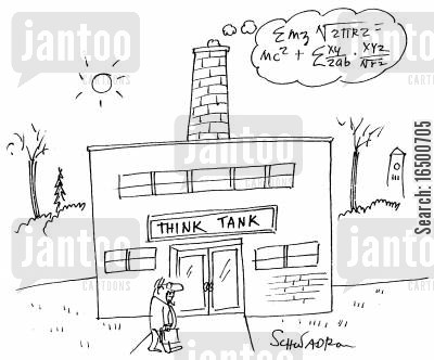 ruminating cartoon humor: Think Tank