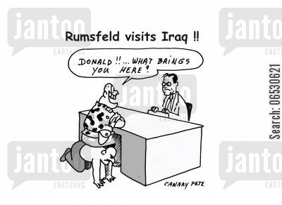 iraq cartoon humor: Rumsfeld visits Iraq.