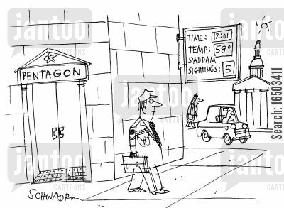 sightings cartoon humor: Clock outside the Pentagon recording time, temperature and Saddam sightings.