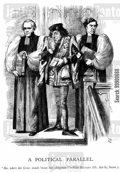irish church disestablishment cartoon humor: Disraeli Hopes for Church Backing against Irish Disestablishment