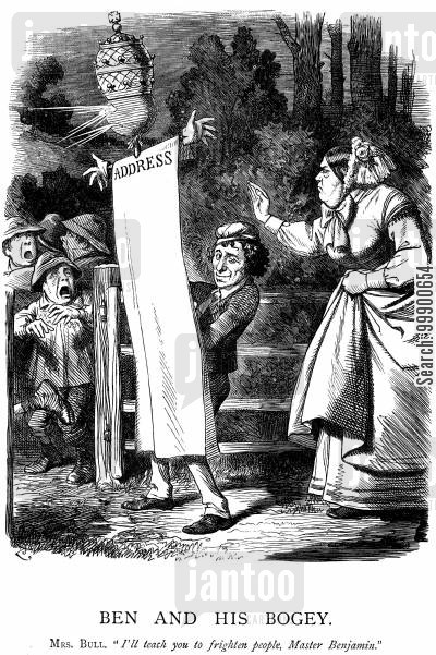 catholics cartoon humor: Disraeli attempts to Raise Fears over Irish Church Disestablishment