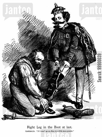 boot cartoon humor: Garibaldi and Italian Unification