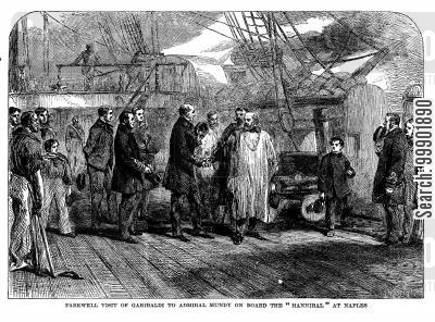 nationalist cartoon humor: 'Farewell Visit of Garibaldi to Admiral Mundy on Board the 'Hannibal' at Naples