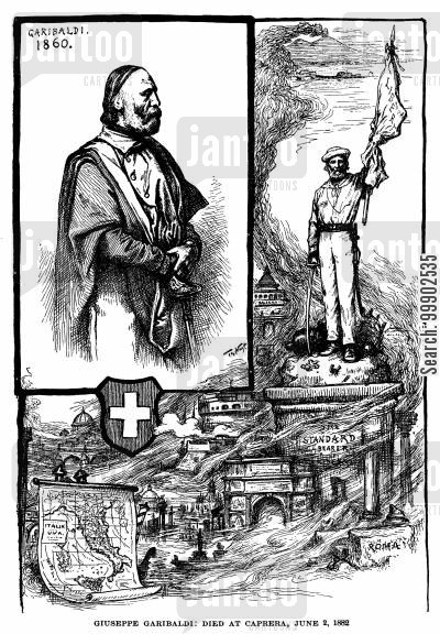 unification cartoon humor: Tribute to Garibaldi upon his death