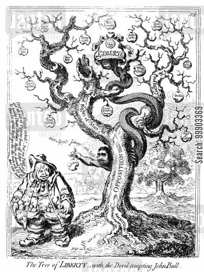 whig cartoon humor: 'The Tree of Liberty- with the Devil [Fox] Tempting John Bull'