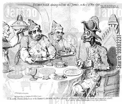 charles james fox cartoon humor: English Radicals Prepare a Welcome Feast for Jacobin General Dumouriez