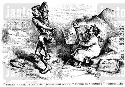 ny herald cartoon humor: James Bennett (NY Herald Editor) and the President Grant 'Caesarism Scare'
