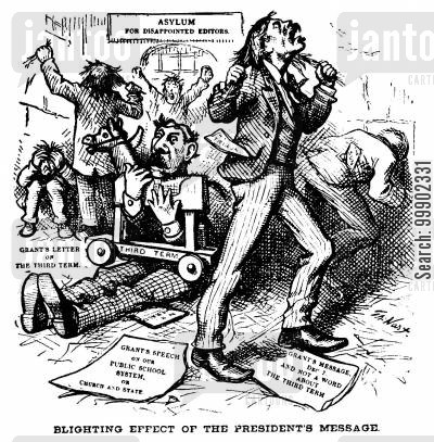 newspapers cartoon humor: President Grant denies Ambitions for 3rd Term- A 'Blighting Effect' on Newspaper Editors