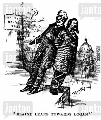 john a logan cartoon humor: 1884 Presidential Election - James Blaine Pushing John Logan off the White House