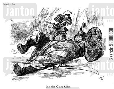 foreign policy cartoon humor: Japanese Victory in First Sino-Japanese War