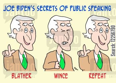 gaffe cartoon humor: Joe Binden's Secrets of Public Speaking.