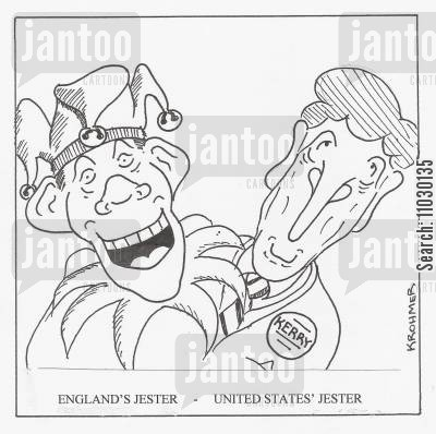 election campaigns cartoon humor: England's jester - United States' jester.