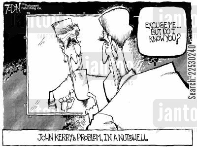 electoral cartoon humor: John Kerry not recognising himself in a Mirror.
