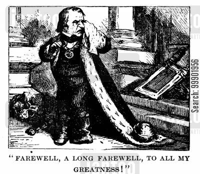 1868 presidential election cartoon humor: President 'Andy' Johnson Completes his Term of Office