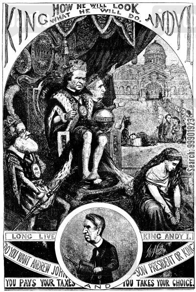 gideon welles cartoon humor: President 'Andy' Johnson depicted as the Tyrannical King