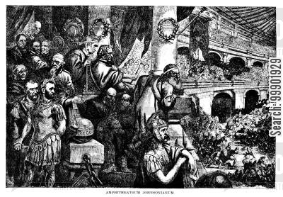 african-americans cartoon humor: 'Ampitheatrum Johnsonianum'- Johnson depicted as Nero viewing the Massacre of New Orleans