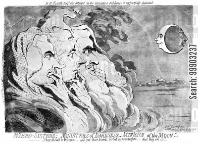 witchcraft cartoon humor: 'Weird Sisters' - Ministers Survey the Growing Madness of King George III