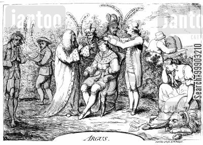 american revolution cartoon humor: 'Argus' - Corruption in the Court of George III