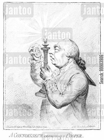 jacobin cartoon humor: 'A Connoisseur Examining a Cooper'- George III Inspecting Engraving of Oliver Cromwell