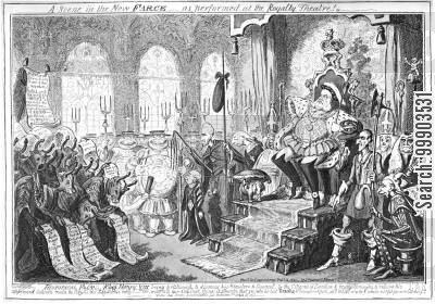 castlereagh cartoon humor: King George IV (as Henry VIII) Rejects Citizen's Demands
