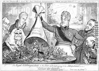 queen caroline trial cartoon humor: George IV Snuffs out Pretensions of Queen Caroline