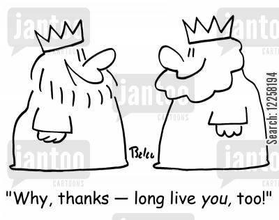 national anthems cartoon humor: 'Why, thanks -- long live YOU, too!'