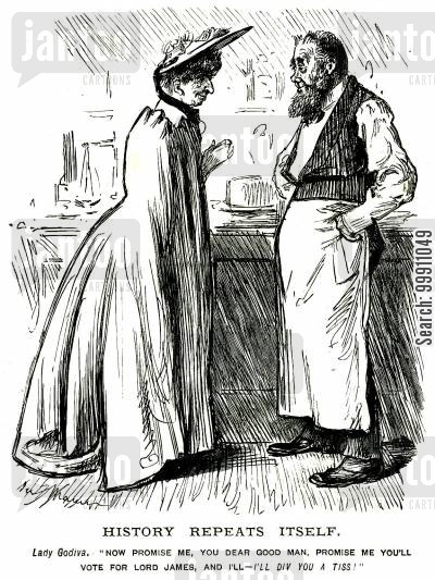 aged cartoon humor: Woman offering to kiss a man if he votes for Lord James